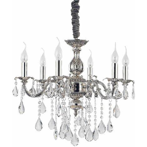 Silver crystal pendant IMPERO 6 bulbs