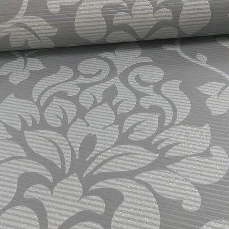 Silver Damask Wallpaper Glitter Charcoal Textured Effect Elite Grandeco Luxury