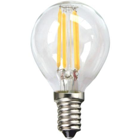 Silver Electronics Bombilla LED Filamento Transparente Esferica 3W E14 3000K
