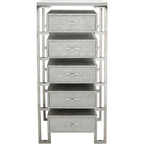 Silver Faux Leather Snakeskin 5 Drawer Open Cabinet