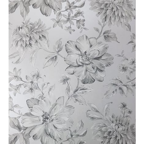 Silver Floral Wallpaper White Grey Flowers Pearlescent Metallic Crown Lucia