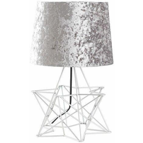 Silver Geometric Star Table Lamp + Velvet Shade + 4W LED Bulb Warm White