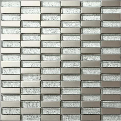 Silver Glass & Brushed Stainless Steel Mosaic Tiles Random Mix MT0103