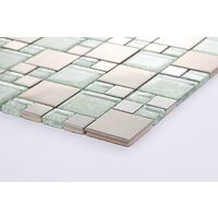 Silver Glass & Brushed Stainless Steel Mosaic Tiles Random MT0048