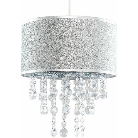 Silver Glitter Light Shade Clear Acrylic Jewel Droplet - Add LED Bulb