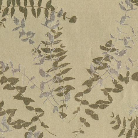 Silver Gold Leaf Floral Wallpaper Metallic Foil Silhouette Vinyl Flowers Muriva