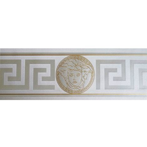Silver & Gold Versace Wallpaper Border Modern Satin Greek Key Textured Designer