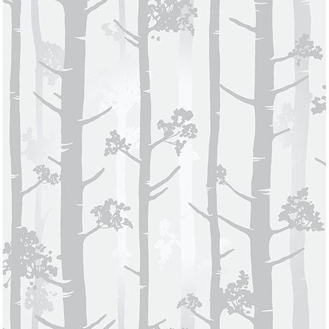 Silver Grey Birch Tree Wallpaper Metallic Woodland Paste Wall Fine Decor Sydow