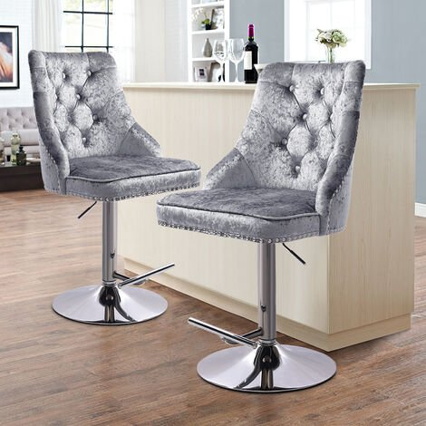 Silver Grey Dining Chairs Velvet Fabric Kitchen Dinner Breakfast Bar Table Stool