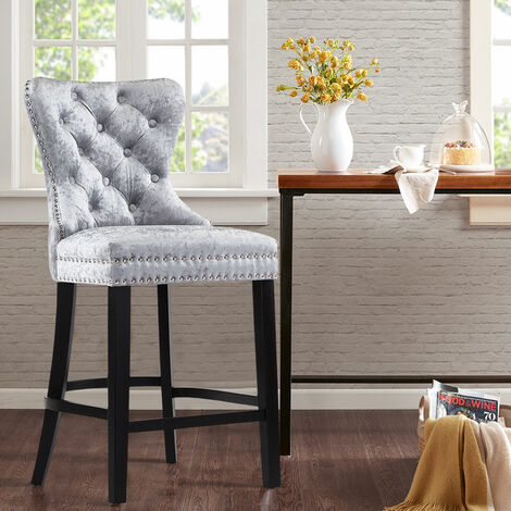 Silver Grey Fabric Breakfast Counter Chairs Bar Stools Wood Barstools Stool Chair