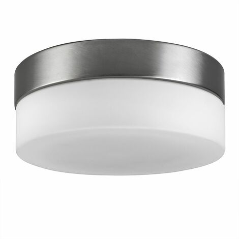 Silver Grey Frosted Glass Round Flush Ceiling Light Lounge Lighting