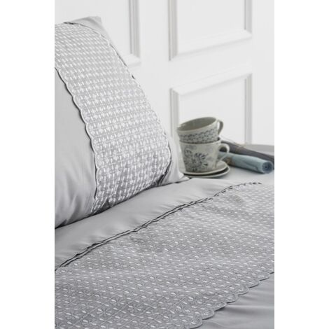 Silver Lace Double Duvet Cover Embroidered Bedding Bed Set