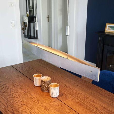 Silver Malu LED pendant lamp, height-adjustable