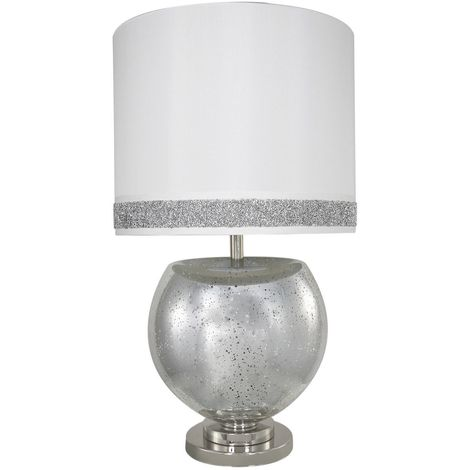 Silver Mercury Bowl Table Lamp With A White Stripe Cylinder Shade - Big Living