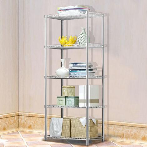 Silver Metal 5 Tier Shelving Storage Kitchen Office Shed Shelf Corner Organiser