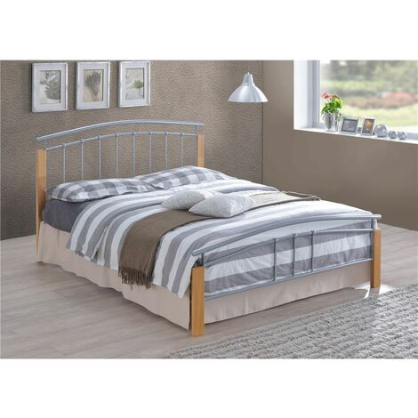 """Silver Metal & Beech Bed Frame - Double 4ft 6"""""""