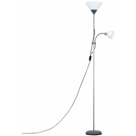 Silver Mozz Parent & Child Floor Lamp + LED Bulb