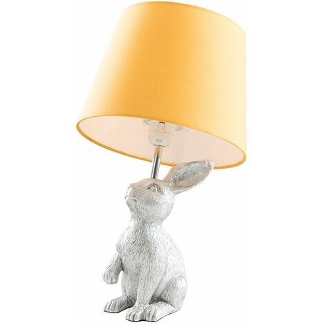 Silver Rabbit / Hare Table Lamp + Mustard Shade - 4W LED Candle Bulb Warm White