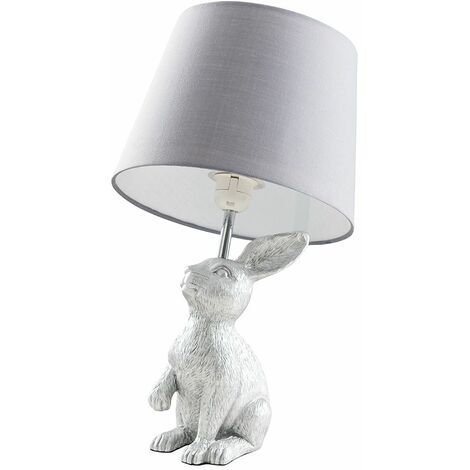 Silver Rabbit Table Lamp + Grey Shade - 4W LED Candle Bulb Warm White
