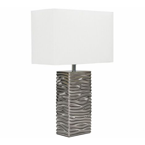 Silver Ripple Ceramic Table Lamp + White Light Shade - 4W LED Candle Bulb - Warm White