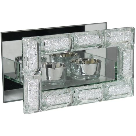 Silver Sparkle And Mirror Double Tealight Holder With Crystal Block Frame
