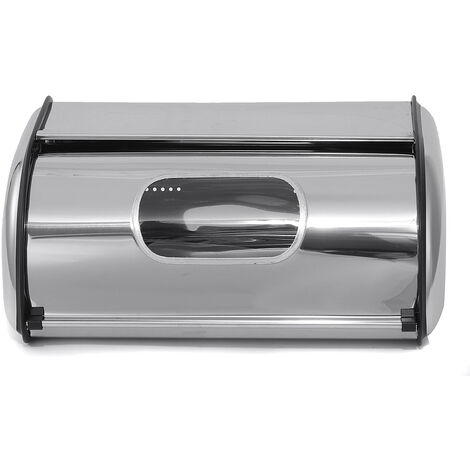 Silver Stainless Steel Bread Box Food Storage Bin Container with Visibility Window Type B 34X23X14.5CM