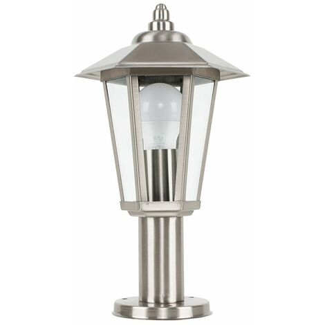 Silver Stainless Steel Outdoor Lamp Post Top Light Ip44 + 4W LED Candle Bulb - Warm White - Silver