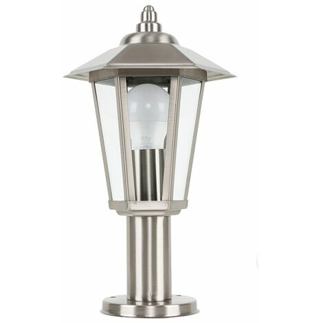 Silver Stainless Steel Outdoor Lamp Post Top Light Ip44 + 6W LED Gls Bulb - Warm White