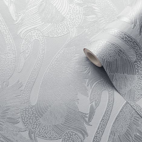 Silver Swan Wallpaper Blown Vinyl Embossed Metallic Sheen Glitter Feature Wall