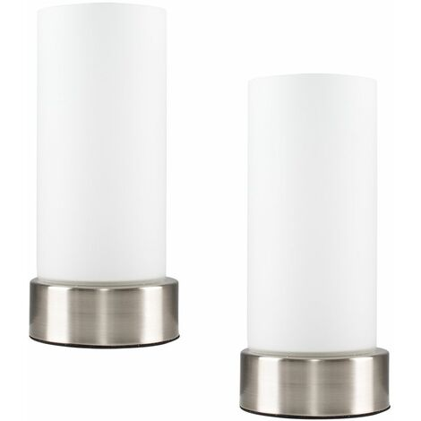Silver Table Lights Pair Of Chrome White Glass Touch Bedside Lounge Lamps