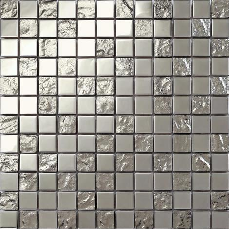 Silver Textured Glass and Smooth Stainless Steel Mosaic Wall Tiles MT0129