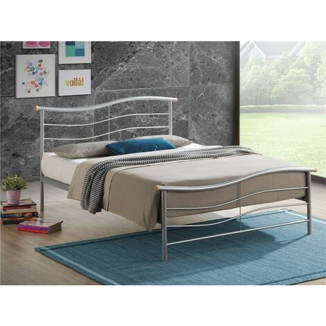 """Silver Wave Metal Bed Frame - Double 4ft 6"""""""