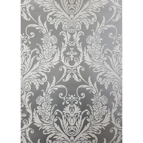 Silver White Damask Wallpaper Metallic Shimmer Vintage Suede Flock Effect Debona