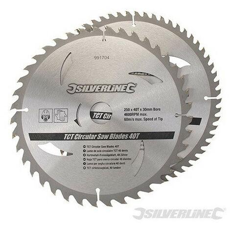 Silverline - 2 lames scie circulaire carbure TCT 40 &60 dents + Réducteur 16mm,20mm,25 mm - 250x30 &300x30