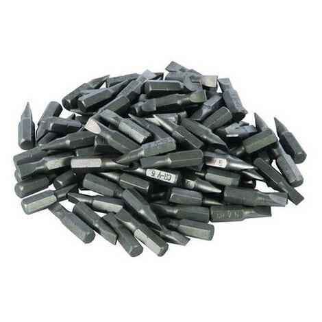 Silverline 277848 Slotted Cr-V Screwdriver Bits 100pk 6mm