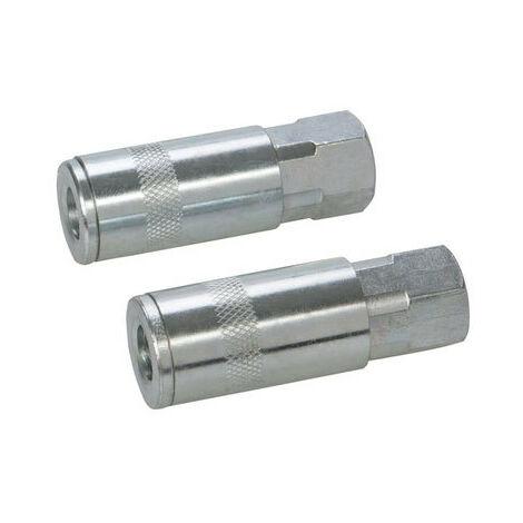 "Silverline 277851 Air Line Quick Coupler 2pk 6mm (1/4"") BSP"
