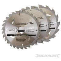 Silverline 3 lame TCT per segha circolare 16, 24,30 denti 165 x 30