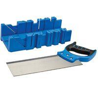 Silverline 300mm x 90mm Mitre Cutting Block/Box + Tenon Wood Saw 335464