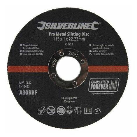 Silverline 738222 Pro Metal Slitting Disc 10pk 115 x 1 x 22.23mm