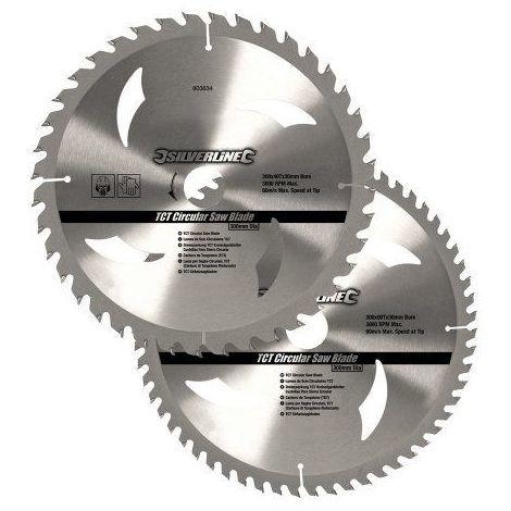 Silverline 803634 Jeu de 2 lames de scie circulaire TCT
