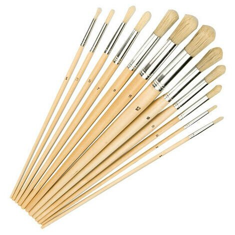 Mixed Tip Artist Paint Brushes Round Flat Pointed Pack 12 1mm 12mm 282606