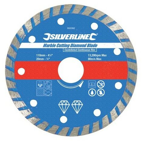Silverline 950392 Marble Cutting Diamond Blade 110 x 20mm Castellated Continuous Rim