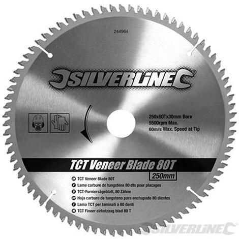 Silverline Lama per impiallacciature TCT 80 denti 250 x 30 mm