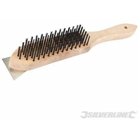Silverline PB16 Wooden Wire Brush & Scraper 6 Row