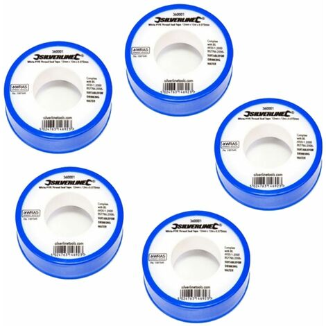 Silverline White PTFE Tape x5 Threaded Seal Plumbing 12mmx12m