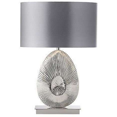 Simeto Table Lamp - Warm Grey Faux Satin Shade/Polished Nickel Plate