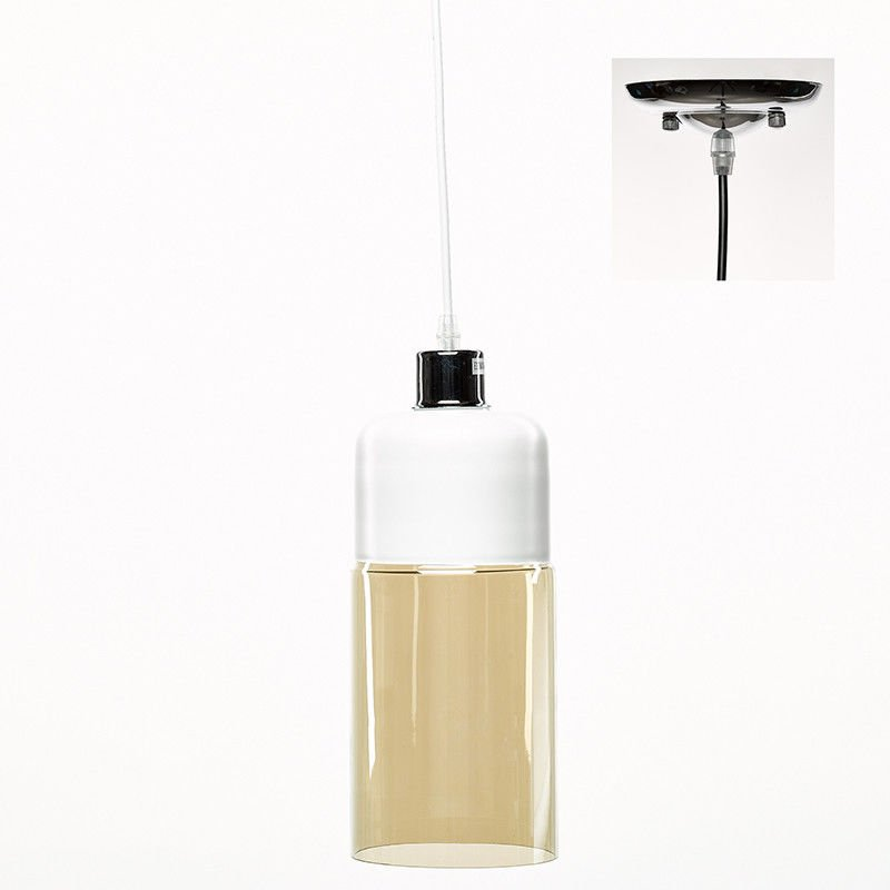 LSD011.1 - Pendelleuchten Ø13x120cm - Metall / Glas - Weiß / Champagne - Simla
