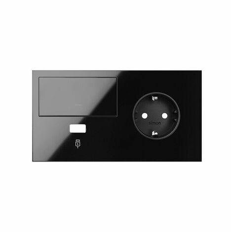 SIMON 100 - Kit frontal 2 el. base+cargUSB+tecla dcha negro brillo 10020206-138