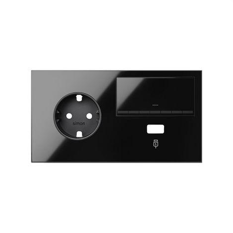 SIMON 100 - Kit frontal 2 el. base+cgUSB+in.reg. izqa. negro brillo 10021209-138