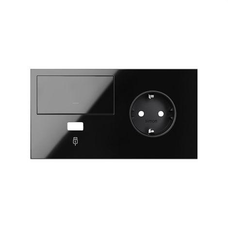 SIMON 100 - Kit frontal 2 elementos base + USB + regulador negro brillo 10020209-138